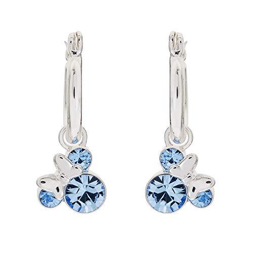 Disney Minnie Mouse Silver Plate Brass Crystal December Birthstone Hoop Earrings