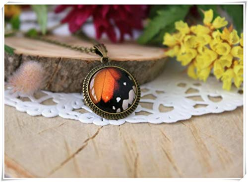 Hobbs Orange and Black Butterfly Wing Pendant,Monarch Butterfly Jewelry, Antique Bronze Necklace,Personalized Jewelry