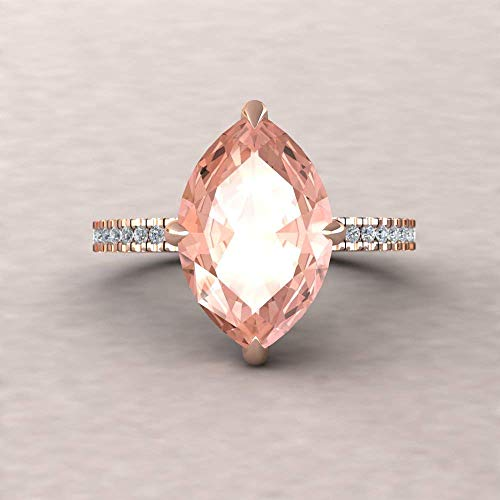 Natural Morganite Engagement Ring - 14x7mm Marquise Solitaire