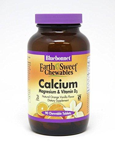 Bluebonnet Nutrition Earthsweet Chewables Calcium Magnesium & Vitamin D3 (Orange Vanilla), 90 Count