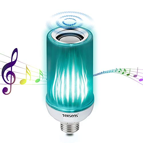 Texsens Bluetooth Light Bulb Speaker - 8W E26 RGB LED Music Lamp with Updated Remote Control - Superior Stereo Sound, Upside-Down Light ()