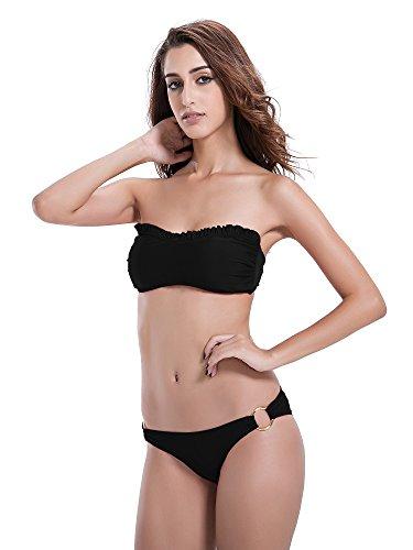 zeraca Mujer Junta Tórica inferior Ruffle Bikini Set negro