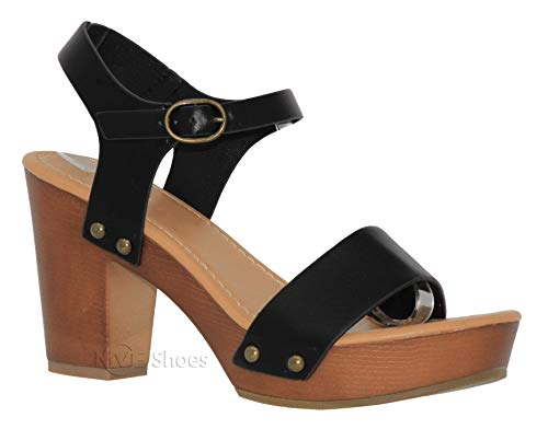 MVE Shoes Women's Ankle Strap Faux Wood Platform Chunky Heel Sandal, Chivas Black PU 8.5