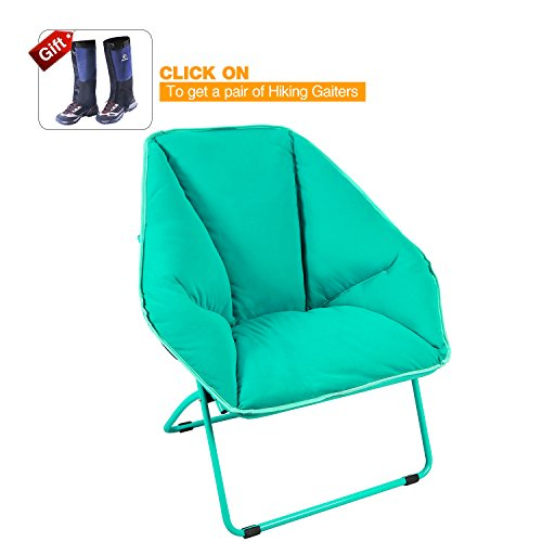REDCAMP Folding Saucer Chair, Large Dish Chair for Teens Kids Adults, Turquoise 34x23.6x17 inches by REDCAMP