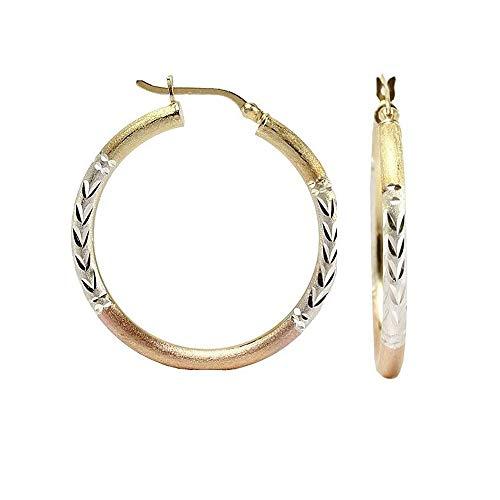 (LeCalla Sterling Silver Jewelry Three-Tone Diamond-Cut Hoop Earrings for Women Girl)