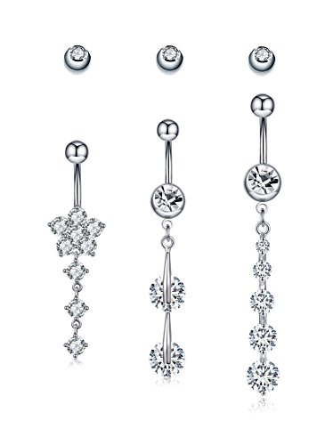 Ball Navel Jewelry - C&L Crystal Surgical Steel Dangle Belly Button Ring Navel Body Jewelry for Women Pack of 3