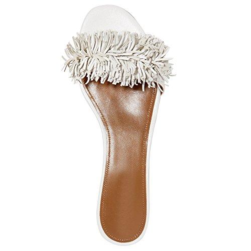 Comodi Muli Con Frange Per Le Donne, Scivoli Con Nappe Senza Schienale Che Scivolano Sulle Pantofole Bianche
