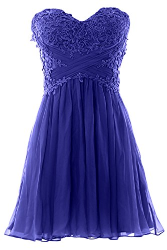 Party Cocktail Formal Lace Gown Prom Royal MACloth Dress Women Blue Strapless Mini Chiffon qwF84