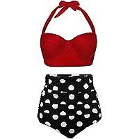 HDWFTDLS Women Swimsuits Vintage Bandeau Push Up Polka Dot Plus Size Bathing Suits High Waisted Bikini (Color : 9, Size…
