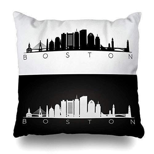 (Unique Desgin Pillowcase Farmhouse Decorative Pillow Covers Floral Sofa Throw Pillow Covers Cotton Linen Cushion Cover 18 x 18 Inch - White Boston USA Tower Skyline Black)
