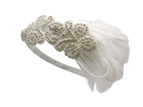 Litluxe Vintage Beaded 20s Headpiece 1920s Gatsby Flapper Feather Headband (1920s Vintage Hats)