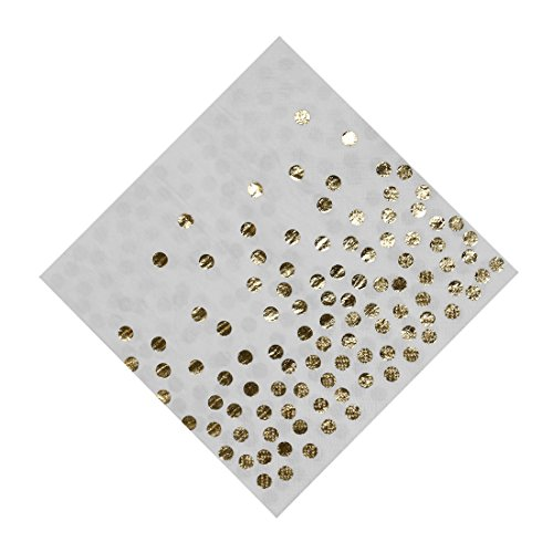 Geeklife Gold Paper Napkins,Stamped with Sparkly Gold Foil Dots Luncheon Napkins,2-ply,20 pcs Pack for Dinner,Lunch,Birthday and Baby Shower