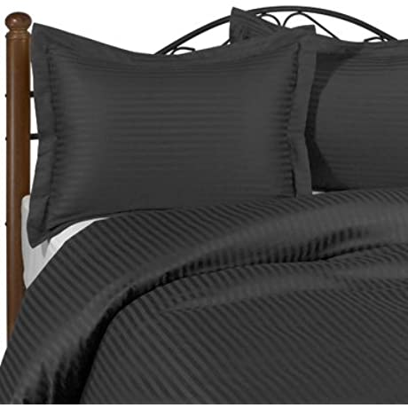 600 Thread Count California King Siberian Goose Down Comforter 650FP 32 38 Oz With 100 Natural Combed Cotton Stripe Damask Cover Black