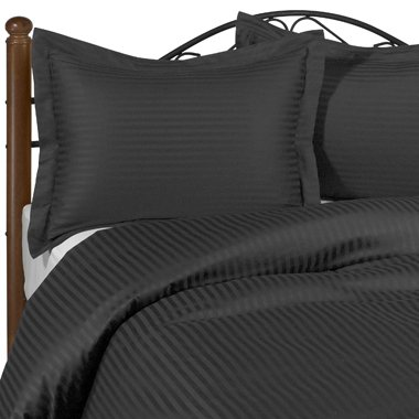 600 Thread Count California King Siberian Goose Down Alternative Comforter [600FP, 50oz] with 100% Egyptian Cotton Stripe Damask Cover - Black Set Includes Bed Duvet Cover Sheet with TWO Shams (Pillowcases) made of 600 Thread Count 100% Long Staple Egyptian Giza Cotton with Swiss Sateen Finishing
