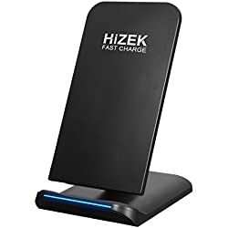 Fast Wireless Charger, Hizek 10W Qi Wireless Charging Stand 2A Tilt Cellphone Holder 2 Coils for All QI-Enabled Devices, iphoneX, iphone8/8plus,Galaxy Note5/ S8/S8Plus/S7/S7Edge/S6Edge(Black)