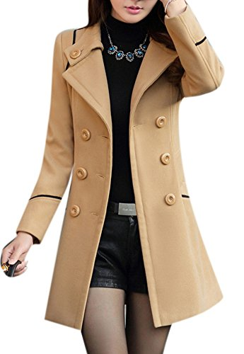 Youtobin Women's New Winter Dress-Coats Slim Long Woolen Coat M Camel