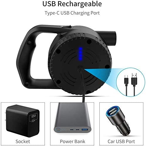 Rechargeable Battery Air Pump with 3 Nozzles Portable Camping Electric Pump Quick-Fill Inflator Deflator for Air Bed Air Mattress Paddling Pool Toys RUNACC Electric Air Pump for Inflatables