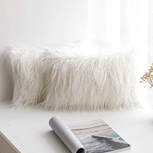 MIULEE Pack of 2 Decorative New Luxury Series Style White Faux Fur Throw Pillow Case Cushion Cover for Sofa Bedroom Car 12 x 20 Inch 30 x 50 cm