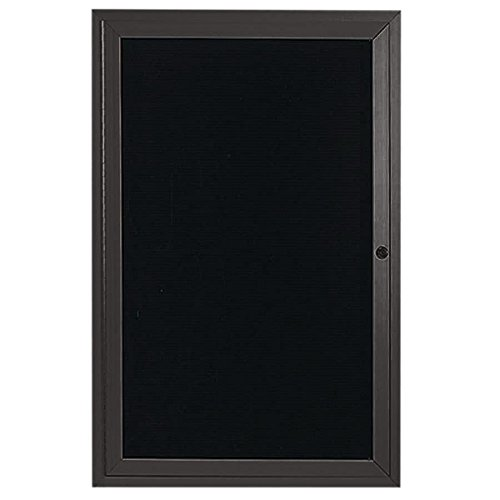 TableTop King ADC2412BA 24'' x 12'' Enclosed Hinged Locking 1 Door Bronze Anodized Aluminum Indoor Message Center with Black Letter Board