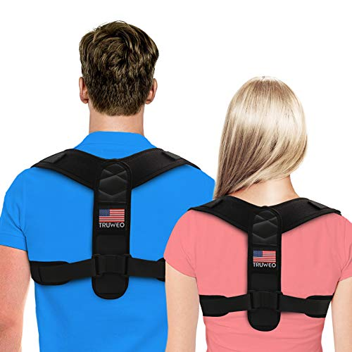 Truweo Posture Corrector For Men And Women - USA Patented Design - Adjustable Upper Back Brace For Clavicle Support and Providing Pain Relief From Neck, Back and Shoulder (Universal), Black