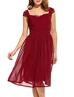 Acevog Women's Cap-Sleeve Chiffon Bridesmaid Party Dress Cocktail Evening Midi Dress