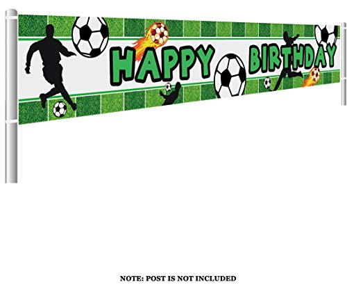 Colormoon Large Soccer Happy Birthday Banner, Soccer Birthday
