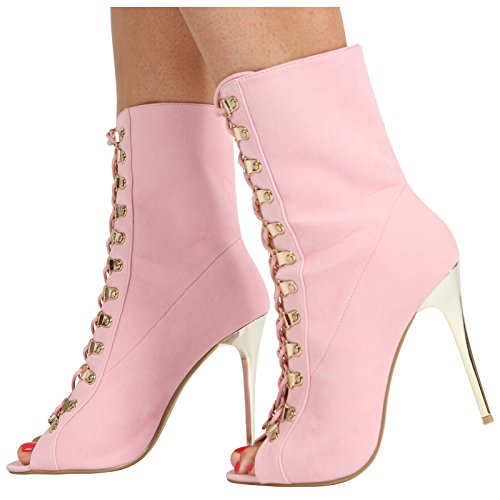 WOMENS LADIES HIGH STILLETO HEEL LACE UP PEEPTOE ANKLE CALF BOOTS SHOES SIZE 3-8 Peach Suede qrATktP2