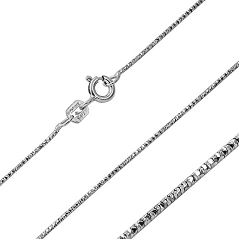 0.8mm Sterling Silver Italian Necklace Rhodium Plated Round DC Snake Chain (16, 18, 20 Inch), 20 (Cadena De Plata Para Hombre)