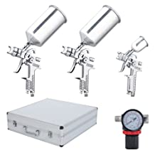Professional 7-Piece Silver HVLP Spray Gun Kit Auto Paint Gravity Feed 3 Sprayer