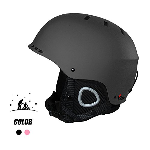 Adult Winter Ski Snow Helmet - Vihir 2-in-1 Convertible Sports Skateboard Helmet for Men Women, BLACK, M