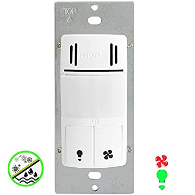 Enerlites DWHOS-W 2-in-1 Humidity Sensor Fan Switch with PIR Light Motion Sensor - Dual Technology, Face Cover Interchangeable, Controls 2 Loads, White