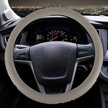 Uniqus Fashionable Texture Universal Rubber Car Steering Wheel Cover Sets Four Seasons General (Khaki)