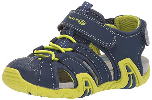Geox Boys' Kraze 34 Velcro Closed Toe Play Sandal Sport, Navy/Lime 23 Medium EU Toddler (7 US)