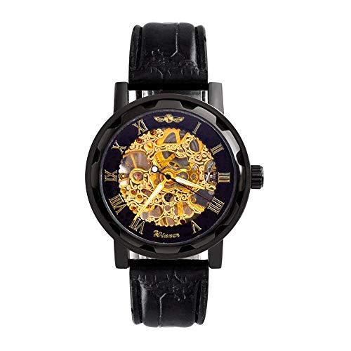 Mudder Mens Mechanical Elegant Skeleton Dial Wrist Watch, Black