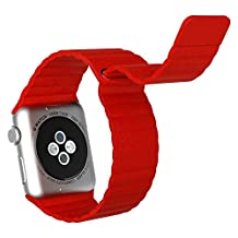 Apple Watch Band, JETech 38mm Genuine Leather Loop with Magnet Lock Strap Replacement Band for Apple Watch 38mm All Models No Buckle Needed (Red)
