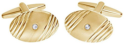 David Van Hagen Mens Shiny Brushed Oval Ribbed Design Crystal Cufflinks - Gold/Clear