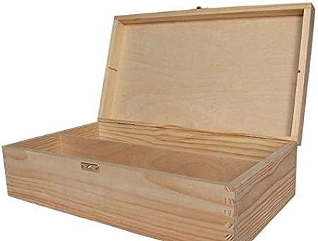 Caja de madera Rectangular de 2 Vinos 35x20x9 Cm, Decoupage Cajas ...