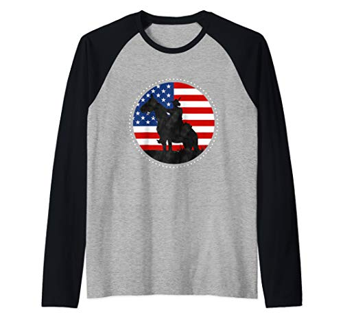 Yankee Doodle Patriotic popular American Song July 4th horse Raglan Baseball Tee