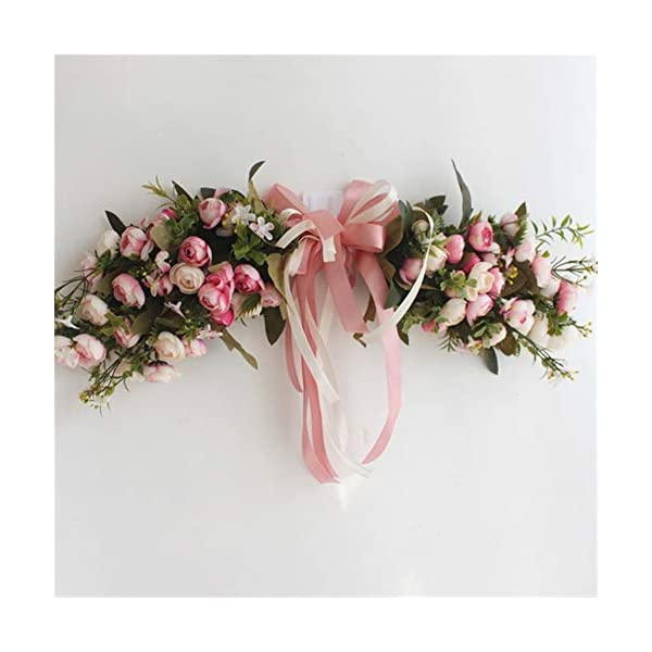 Liveinu Artificial Peony Floral Swag for Front Door Flowers Arrangements Wedding Table Centerpieces Door Swag for Decor 19″ W x 7″ H Pink Swag Wreath