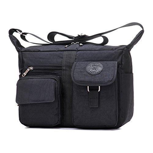 [Women's Shoulder Bags Casual Handbag Travel Bag Messenger Cross Body Nylon Bags Black] (Messenger Bag Purse)