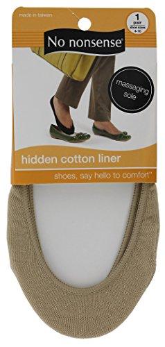 No Nonsense 2K15SR Shoe Size 4-10 Womens Nude Cotton Liner Socks
