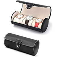 Autoark Leatherette Roll Traveler's Watch Storage Organizer for 3 Watch and / or Bracelets (Black),AW-006