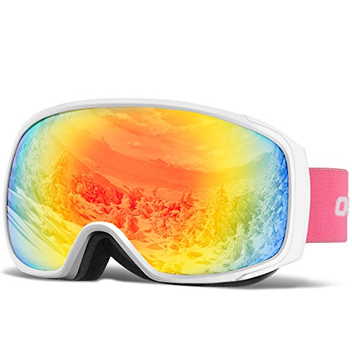 OlarHike Ski Snow Goggles for Men and Women, Anti-Fog Over Glasses Snowboard Goggles with UV Protection, Windproof Helmet Compatible Dual Lens Goggles for Skiing & Skating & Sport, UV400