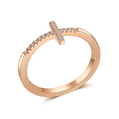 SISIBER Crossing Design Braid Setting Shiny Micro Rhinstone Rose Gold Rings Woman Girls Classical Engagement Gift,8