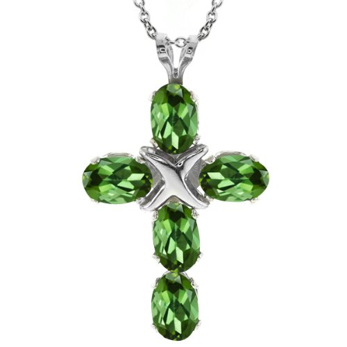 2.00 Ct Oval Green Tourmaline 925 Sterling Silver Cross Pendant and Chain