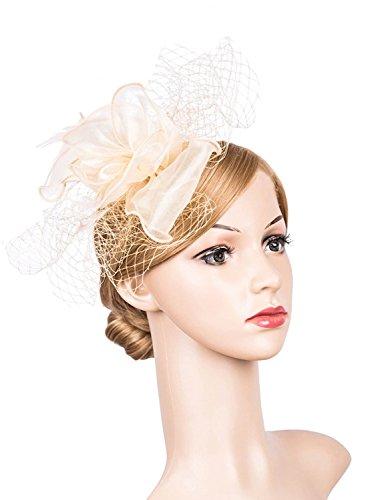 SAIANKE Fascinators Hair Clip Headband Pillbox Hat Feather Flower Veil Wedding Party Cocktail Hat (Party Toddler Hat)