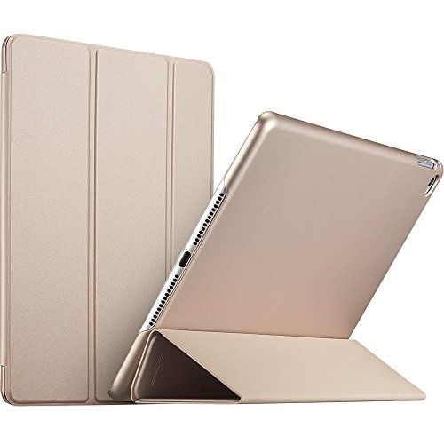 esr Rubber Cover for The iPad Air 2, Slim Fit Leather Smart Case with Rubberized Back Cover and Auto Wake & Sleep Function for Apple iPad Air 2 / iPad 6 (Gold) ()