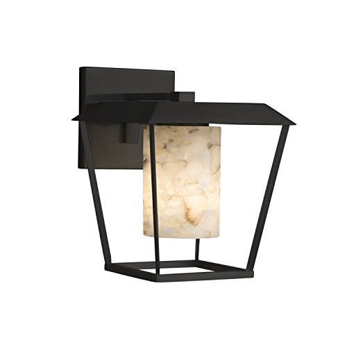 (Alabaster Rocks! - Patina Large 1-Light Outdoor Wall Sconce - Cylinder with Flat Rim Alabaster Rocks Shade - Matte Black Finish)