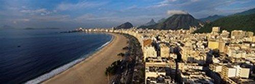 Posterazzi PPI90937S High Angle View Copacabana Beach Rio De Janeiro Brazil Poster Print, 18 x 7