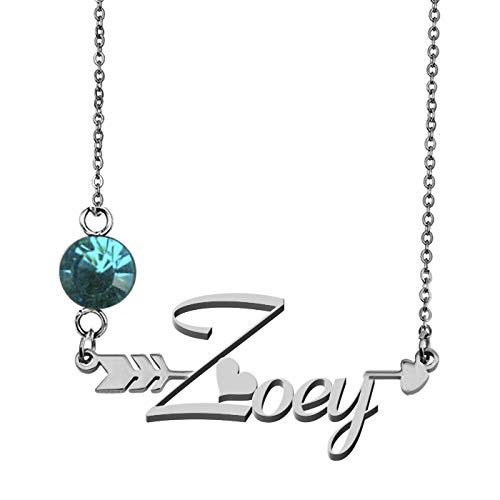 GR859C Birthstone Name Necklace Custom Gift for Mother Girlfriend Zoey for $<!--$12.69-->